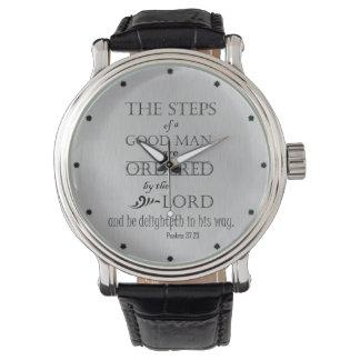 Psalms: Steps of a Good Man Bible Verse Wrist Watch