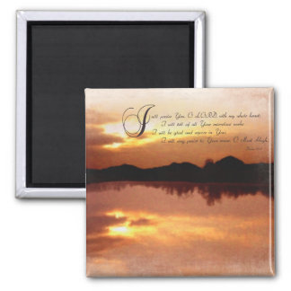 Psalms & Sunsets, Bible Verse Inspirationals 2 Inch Square Magnet