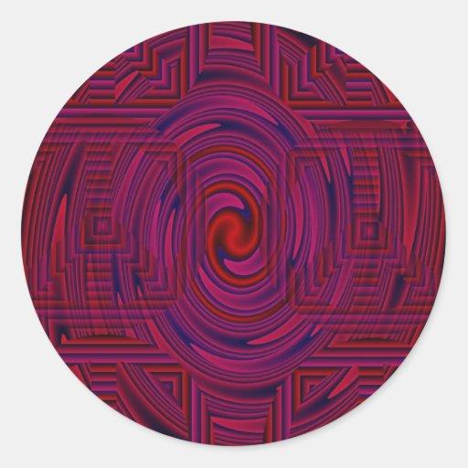 Psicodélico modelada rojo etiqueta redonda