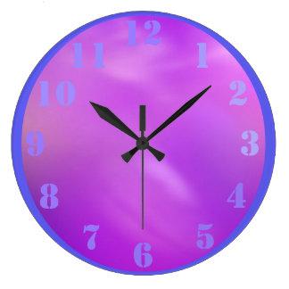 Psicodélico púrpura rosado reloj redondo grande