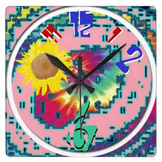 psicodélico reloj cuadrado