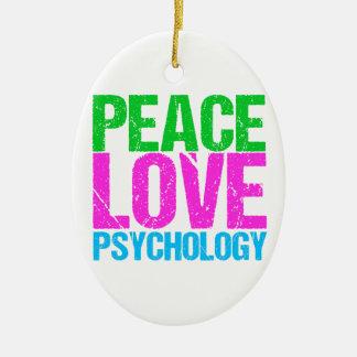 Psicología del amor de la paz linda adorno navideño ovalado de cerámica