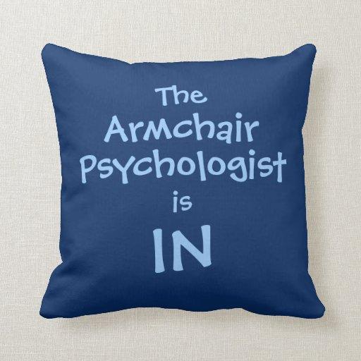 Psicólogo azul divertido de la butaca cojin