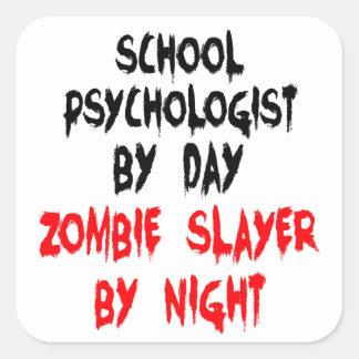 Psicólogo de la escuela del asesino del zombi calcomanías cuadradases