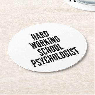 Psicólogo de trabajo duro de la escuela posavasos de cartón redondo