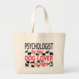 Psicólogo del amante del perro del día por noche bolsa tela grande