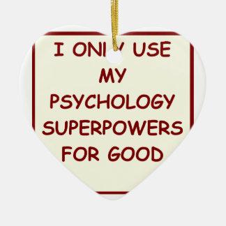 psicólogo del paychology adorno navideño de cerámica en forma de corazón