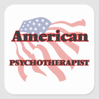 Psicoterapeuta americano pegatina cuadrada