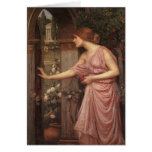 Psique que abre la puerta en el jardín del Cupid Tarjeton