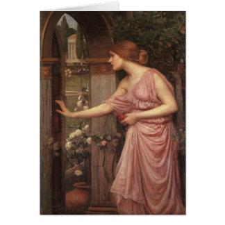 Psique que abre la puerta en el jardín del Cupid Tarjeta De Felicitación