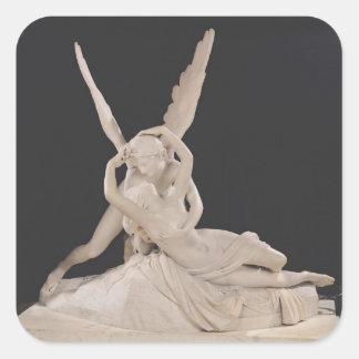 Psique restablecida por el beso del Cupid 1787-93 Calcomanía Cuadrada Personalizada