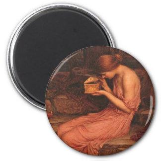 Psique y caja de oro imán redondo 5 cm