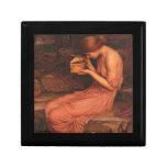 Psique y caja laqueada Pre-Raphaelite de oro de la Joyero Cuadrado Pequeño