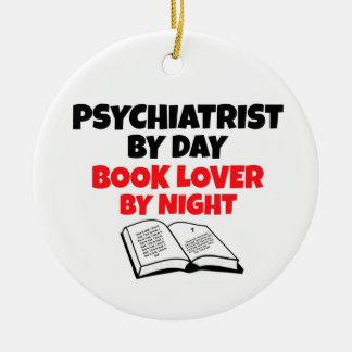 Psiquiatra del aficionado a los libros del día por ornamento para arbol de navidad