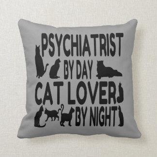 Psiquiatra del amante del gato cojín decorativo
