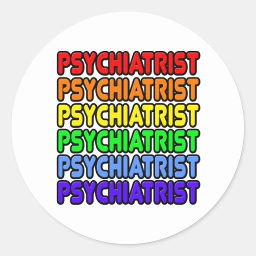 Psiquiatra del arco iris pegatina redonda