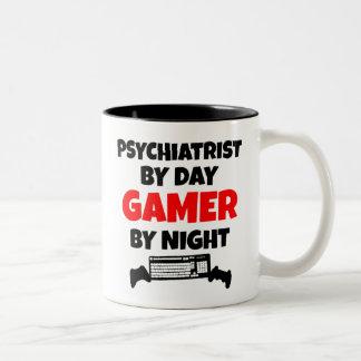 Psiquiatra del videojugador taza de dos tonos