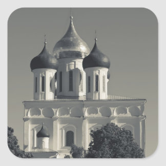Pskov el Kremlin y catedral de la trinidad Pegatina Cuadrada