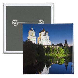 Pskov el Kremlin y catedral de la trinidad refleja Pin Cuadrada 5 Cm