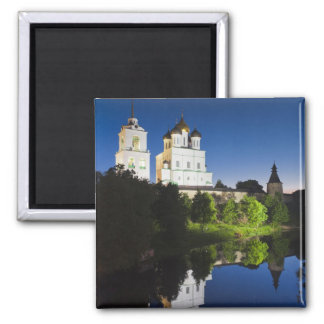 Pskov Kremlin and Trinity Cathedral reflected Magnet