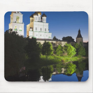 Pskov Kremlin and Trinity Cathedral reflected Mouse Pad
