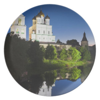 Pskov Kremlin and Trinity Cathedral reflected Dinner Plate