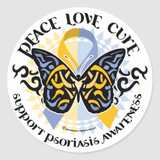 Psoriasis Butterfly Tribal 2 Classic Round Sticker