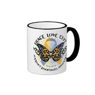 Psoriasis Butterfly Tribal 2 Ringer Coffee Mug