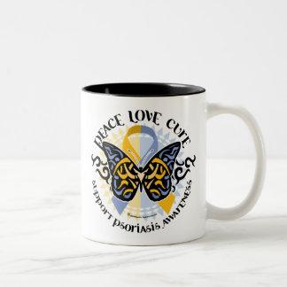 Psoriasis Butterfly Tribal 2 Two-Tone Coffee Mug