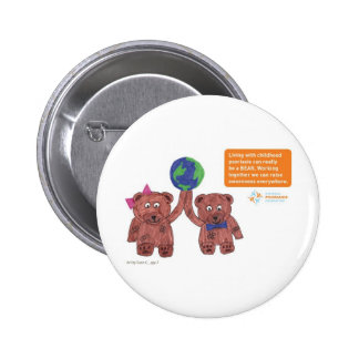 """Psoriasis can be a bear"" pin"
