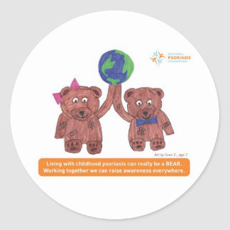 Psoriasis can be a bear round stickers