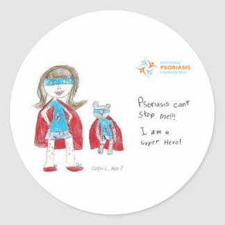 """""""Psoriasis can't stop me"""" Classic Round Sticker"""