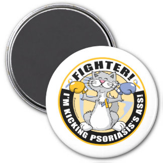 Psoriasis Cat Fighter 3 Inch Round Magnet
