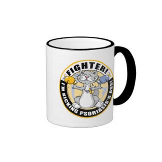 Psoriasis Cat Fighter Ringer Coffee Mug