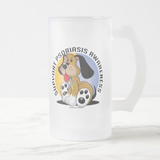Psoriasis Dog Frosted Glass Beer Mug