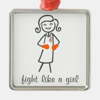Psoriasis Fight Like A Girl (Retro) Square Metal Christmas Ornament