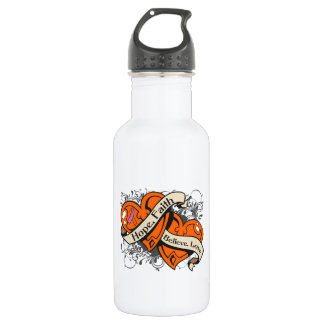 Psoriasis Hope Faith Dual Hearts 18oz Water Bottle