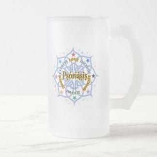 Psoriasis Lotus Frosted Glass Beer Mug