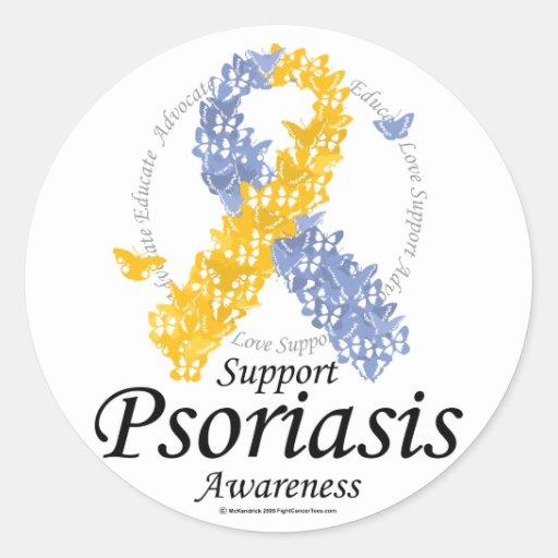 Psoriasis Ribbon of Butterflies Round Sticker