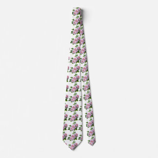 PsThree Pink Roses With Leaves Neck Tie