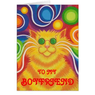 Psy-cat-delic 'Boyfriend' 'groovy birthday' card