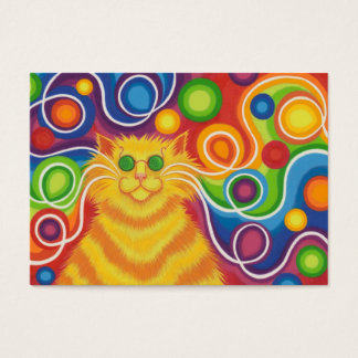 Psy-cat-delic business card chubby yellow back