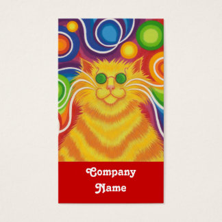 Psy-cat-delic business card portrait red back