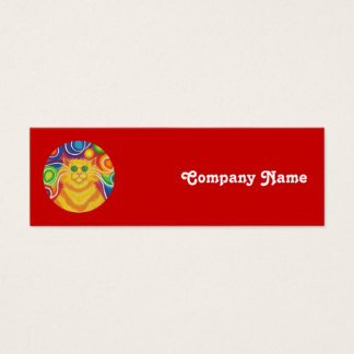 Psy-cat-delic 'company name' skinny red mini business card