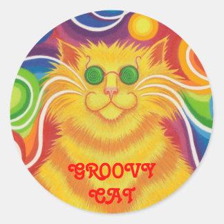 Psy-cat-delic 'Groovy Cat!' round sticker