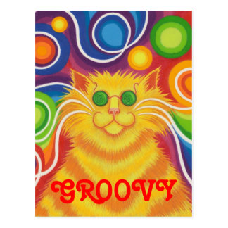 Psy-cat-delic 'Groovy' postcard vertical