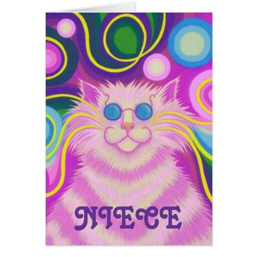 Psy-cat-delic 'Niece' 'groovy Birthday' Card