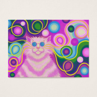 Psy-cat-delic Pink business card chubby