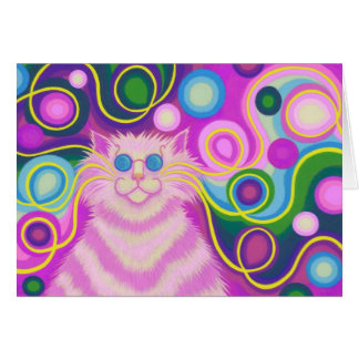 Psy-cat-delic Pink greetings card