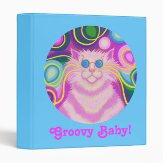 Psy-cat-delic Pink 'Groovy Baby!' binder blue